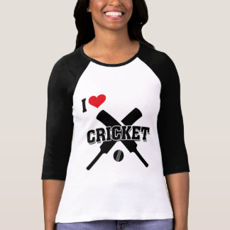 I Love Cricket, Crossed bats and ball, Cricket T-Shirt