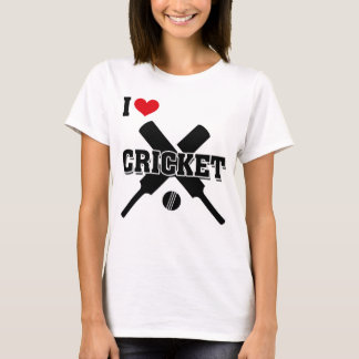 I Love Cricket, Crossed Cricket bats and ball T-Shirt