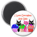 """""""I love cupcakes and cats""""--Cupcake Lovers Gifts Refrigerator Magnets"""