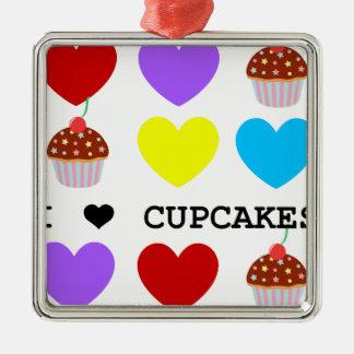 i love cupcakes bright design cupcake Silver-Colored square decoration