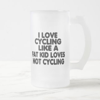 I Love Cycling Frosted Glass Mug
