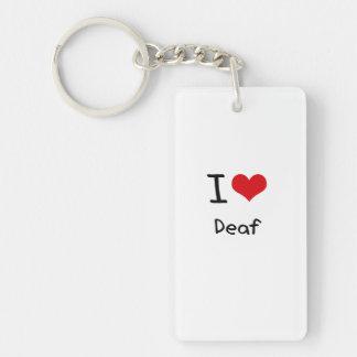 I Love Deaf Rectangle Acrylic Keychains