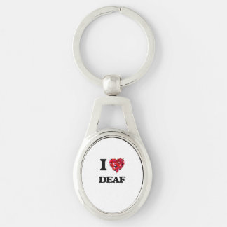 I love Deaf Silver-Colored Oval Key Ring