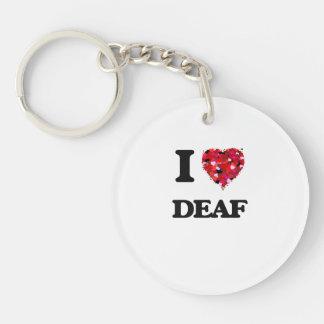 I love Deaf Single-Sided Round Acrylic Key Ring