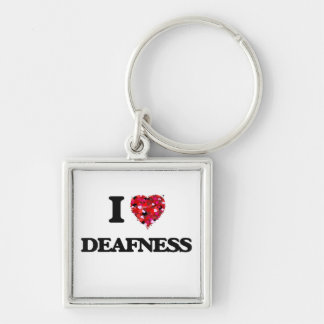 I love Deafness Silver-Colored Square Key Ring