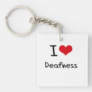 I Love Deafness Square Acrylic Keychain