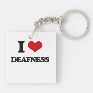 I love Deafness Double-Sided Square Acrylic Key Ring