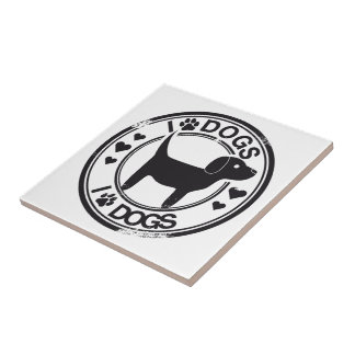 I love dogs with puppy small square tile