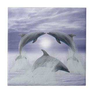 I love dolphins small square tile