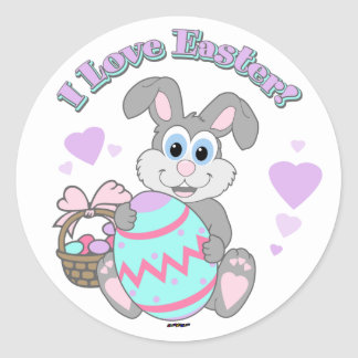 I Love Easter! Easter Bunny Classic Round Sticker
