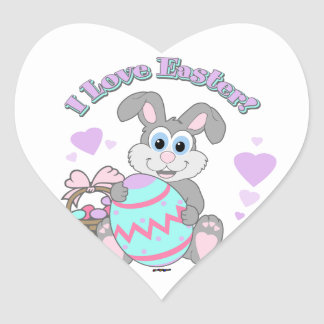 I Love Easter! Easter Bunny Heart Stickers