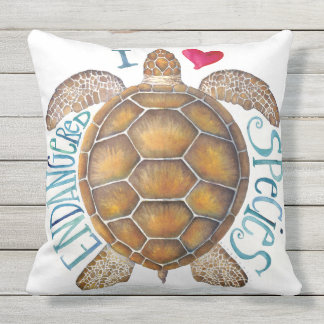 I Love Endangered Species Pillow