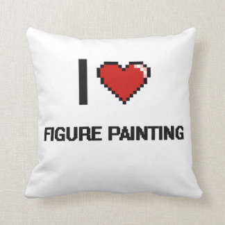 I Love Figure Painting Digital Retro Design Throw Pillow