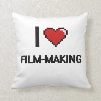 I Love Film-Making Digital Retro Design Throw Cushions