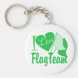 I Love Flag Team Green Key Ring