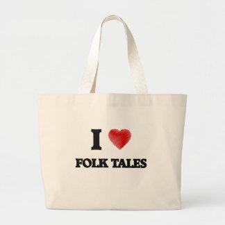 I love Folk Tales Large Tote Bag