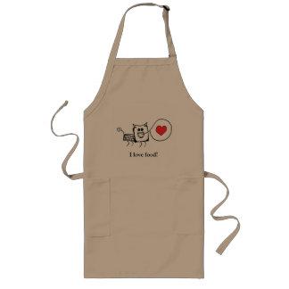 I love food, cute creature long apron (khaki)