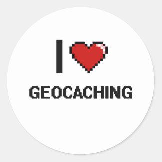 I Love Geocaching Digital Retro Design Round Sticker
