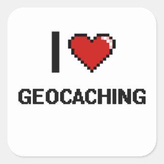 I Love Geocaching Digital Retro Design Square Sticker