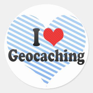 I Love Geocaching Round Sticker