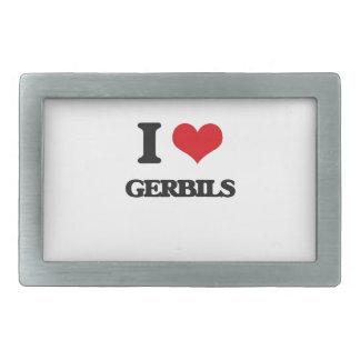 I love Gerbils Rectangular Belt Buckle