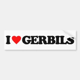 I LOVE GERBILS BUMPER STICKER