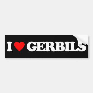 I LOVE GERBILS CAR BUMPER STICKER