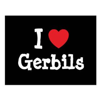 I love Gerbils heart custom personalized Postcard