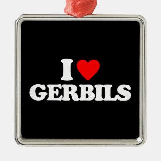 I LOVE GERBILS Silver-Colored SQUARE DECORATION