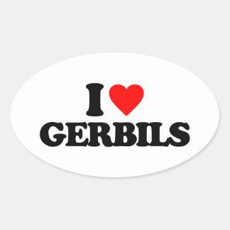 I LOVE GERBILS OVAL STICKER