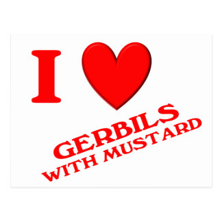 I Love Gerbils with Mustard Post Cards