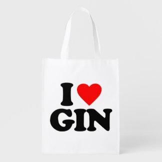 I LOVE GIN REUSABLE GROCERY BAG
