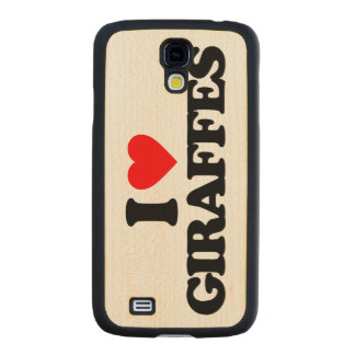 I LOVE GIRAFFES MAPLE GALAXY S4 CASE