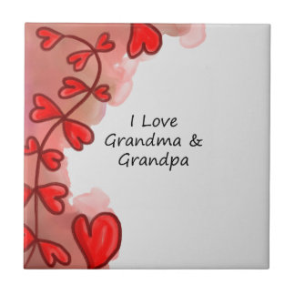 I Love Grandma & Grandpa Small Square Tile