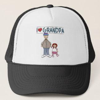 I Love Grandpa Red Haired Girl Trucker Hat