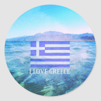 I Love Greece Classic Round Sticker