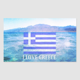 I Love Greece Rectangular Sticker