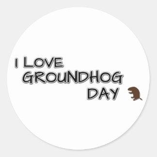 I love groundhog day classic round sticker
