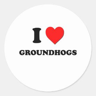 I Love Groundhogs Classic Round Sticker