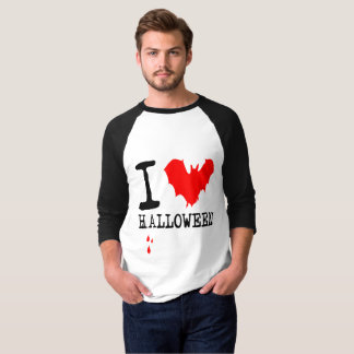 I Love Halloween Red Bat T-Shirt