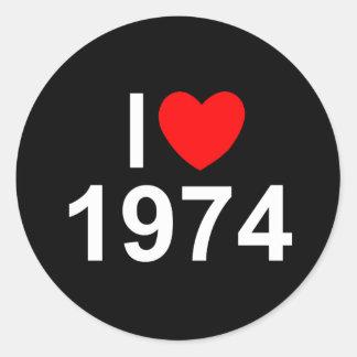 I Love Heart 1974 Round Stickers