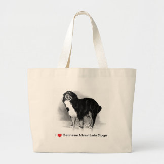 I Love (Heart) Bernese Mountain Dogs Large Tote Bag