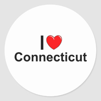 I Love (Heart) Connecticut Classic Round Sticker