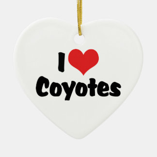 I Love Heart Coyotes - Coyote Lover Ceramic Heart Decoration