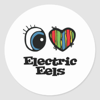 I Love (Heart) Electric eels Classic Round Sticker