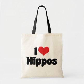I Love Heart Hippos - Hippopotamus Lover Tote Bag