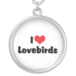 I Love Heart Lovebirds Silver Plated Necklace