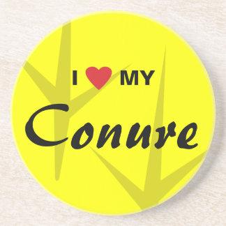 I Love (Heart) My Conure Bird Tracks Design Coaster