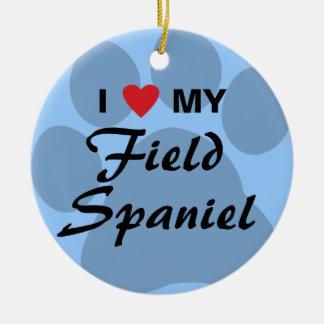 I Love (Heart) My Field Spaniel Christmas Ornament