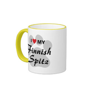 I Love (Heart) My Finnish Spitz Pawprint Ringer Coffee Mug